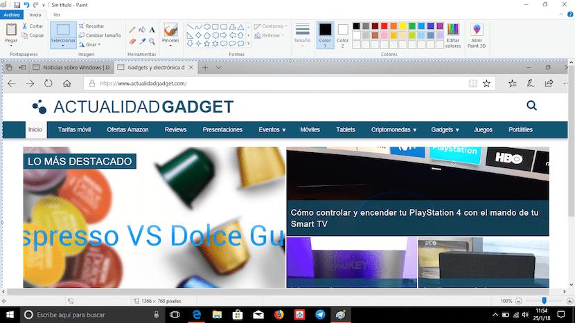 captura de pantalla en Windows con aplicación Paint