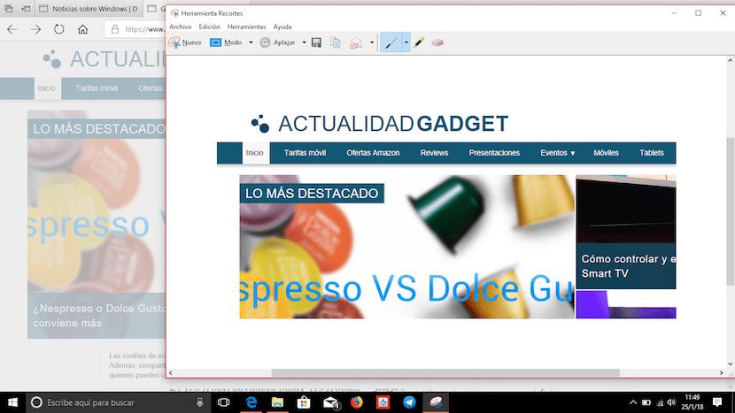 Capturar pantalla en Windows con aplicación Recortes