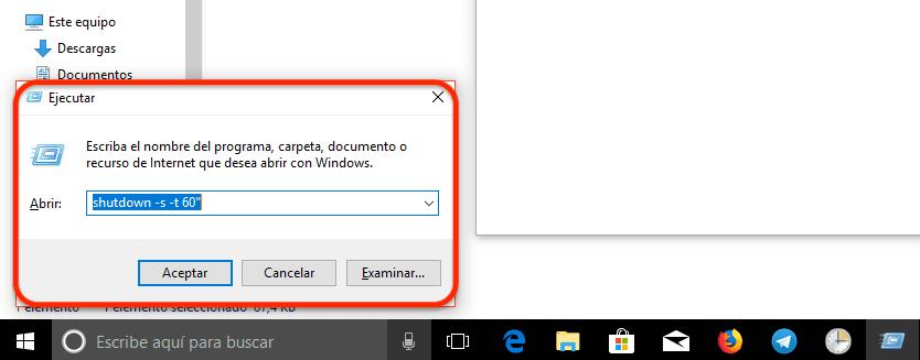 Programar apagado automático de Windows 10 con el comando Ejecutar