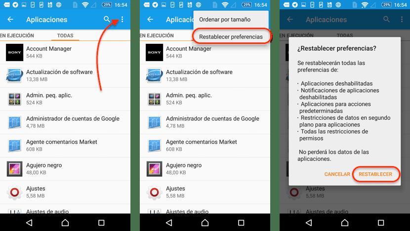 Eliminar preferencias aplicaciones en Android