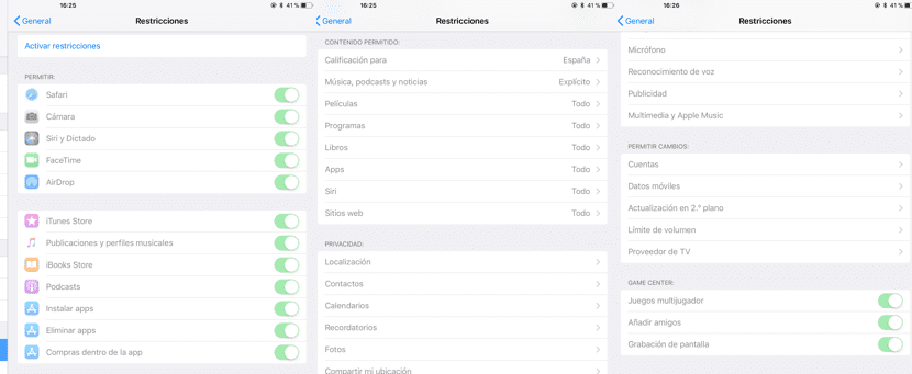Restricciones para niños en iOS
