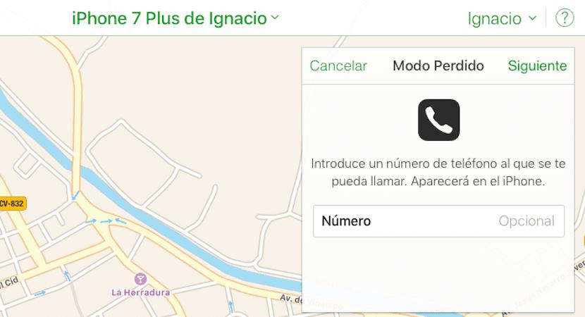 Enviar mensaje a nuestro iPhone robado o perdido
