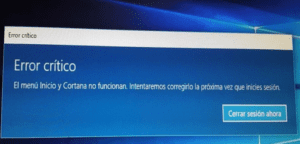 solucionar error crítico de Windows