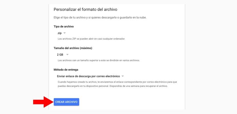 Crear archivo backup Gmail