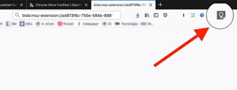 Extensión de Chrome℗ instalda en Firefox