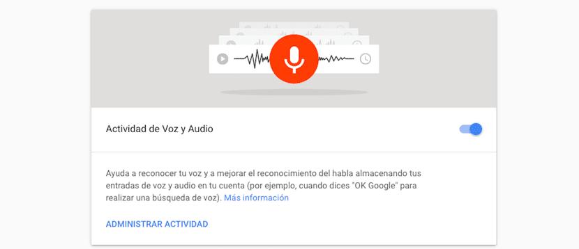 Borrar actividad de voz y audio Google