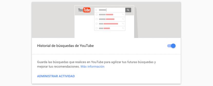 Borrar historial de búsquedas de YouTube