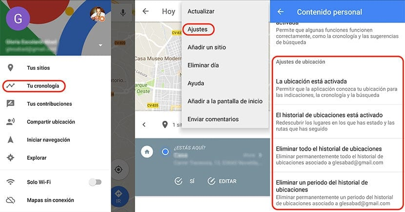 Borrar Historial ubicaciones Google Maps en Android