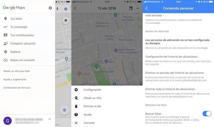 Como borrar el historial de ubicaciones de Google Maps en iOS