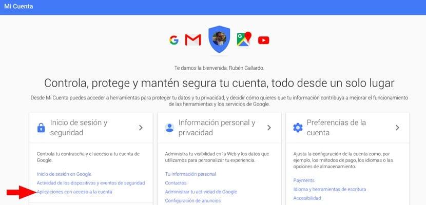 Cuenta Google acceso datos apps