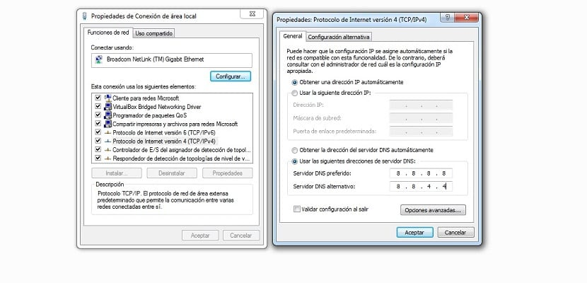 configurar dns windows