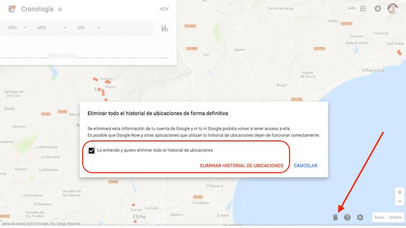 Eliminar historial ubicaciones de Google