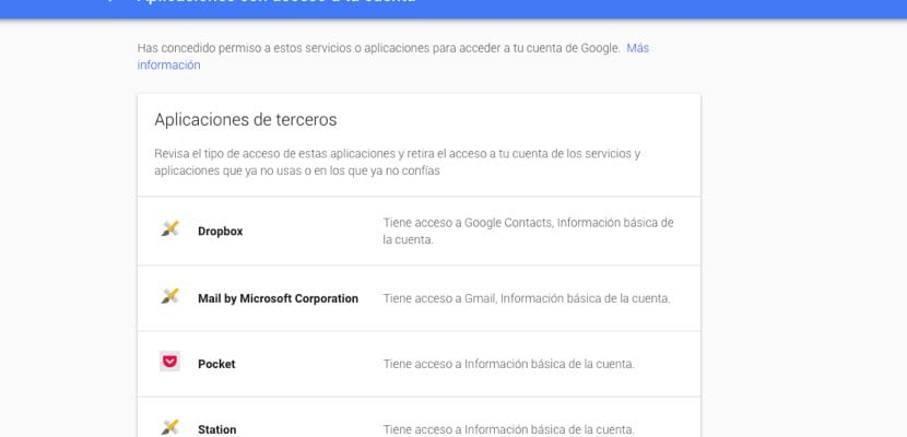 lista apps acceso datos Google