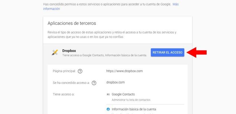 retirar acceso apps terceros datos Google