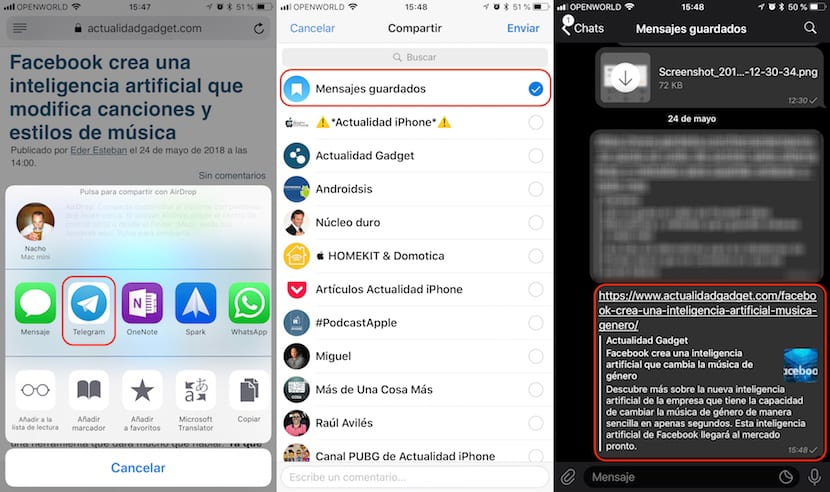 Telegram - Alternativa a Instapaper