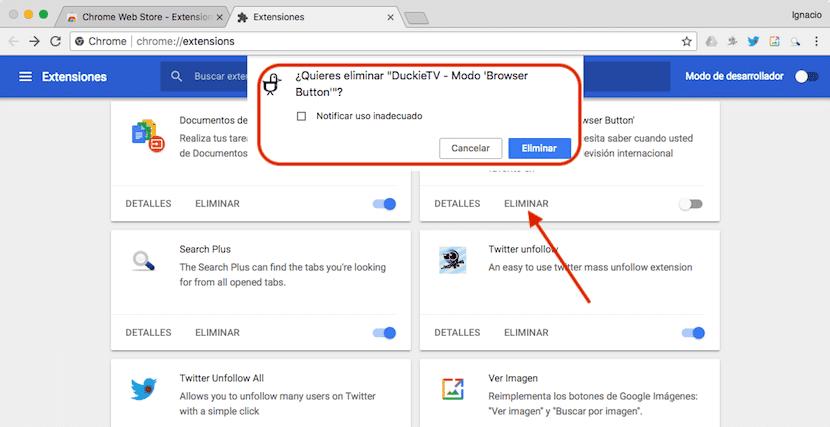 Cómo desinstalar extensiones en Google Chrome
