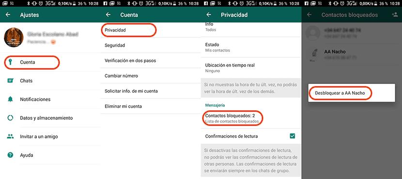 Cómo desbloquear un contacto de WhatsApp en Android