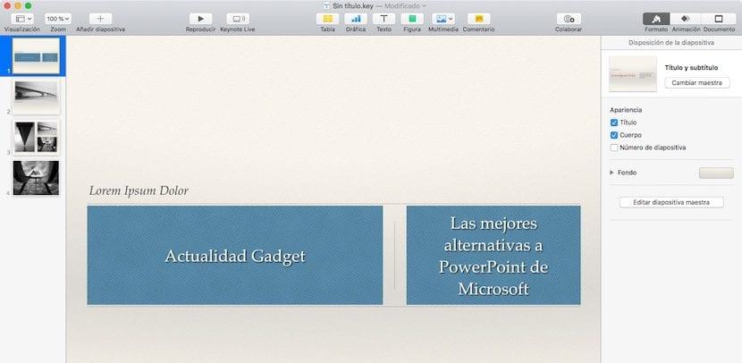 Keynote de Apple - Alternativa a PowerPoint