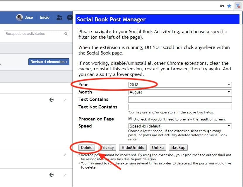 Extensión Chrome para borrar publicaciones de Facebook