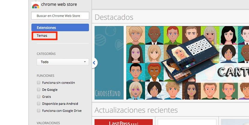 Extensiones y temas en Google Chrome