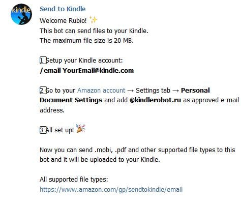 Send to Kindle Telegram