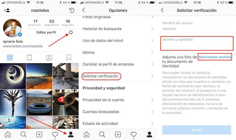 Verificar cuenta de Instagram