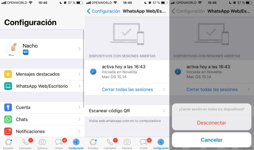 Cerrar sesión WhatsApp Web