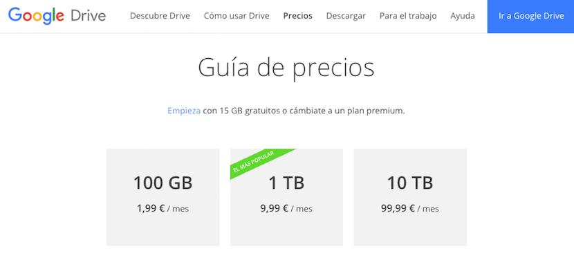 Cuanto cuesta Google Drive