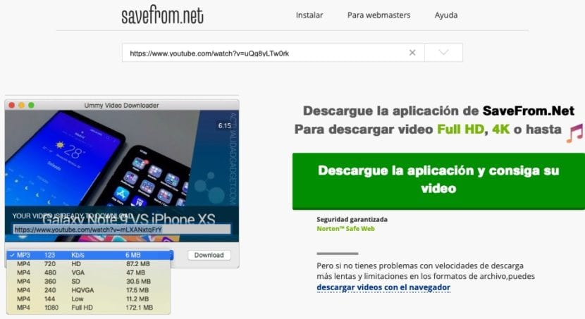 Descargar vídeos YouTube con Savefrom.net sin aplicaciones