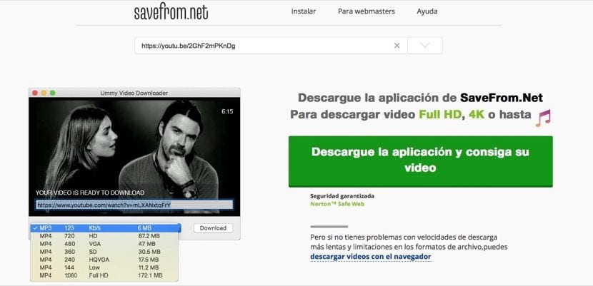 Descargar vídeos de YouTube con savefrom.net