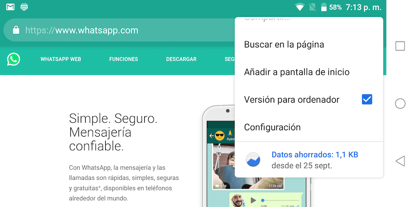 Usar WhatsApp Web en tablet Android