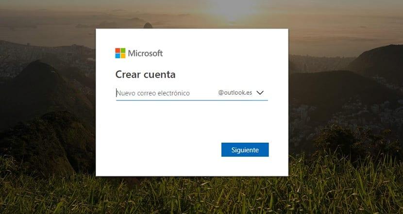 Crear cuenta en Outlook