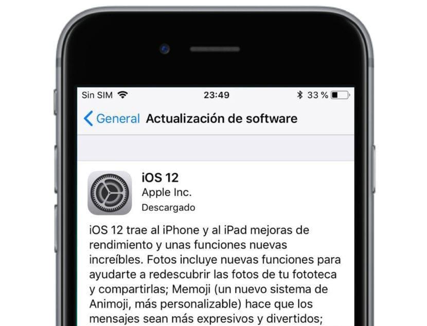 Actualización iOS en iPhone