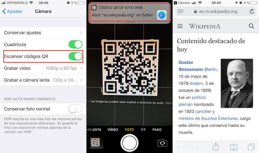 Leer códigos QR con el iPhone
