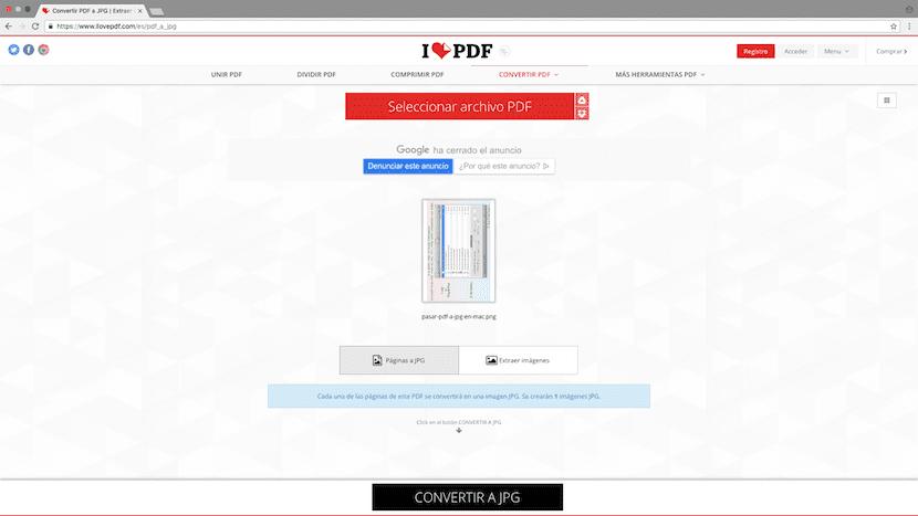De PDF a JPG sin instalar aplicaciones