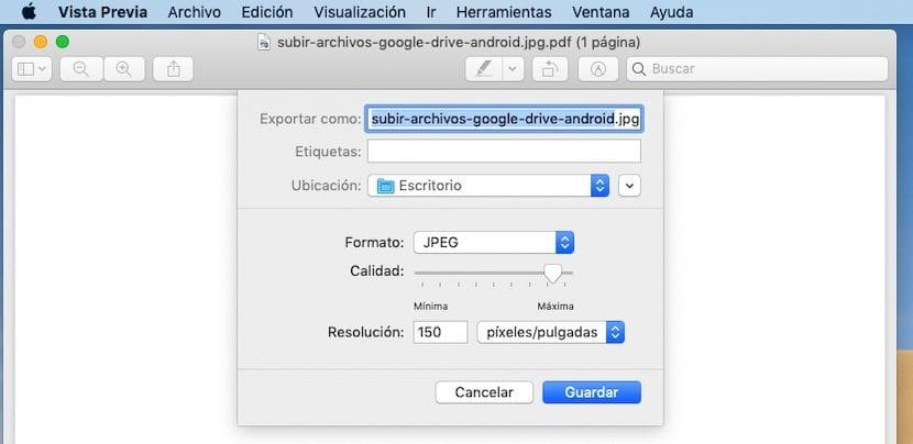 Pasar de PDF a JPG con Vista Previa