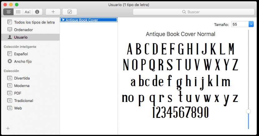 Fuentes de letra instaladas en Mac