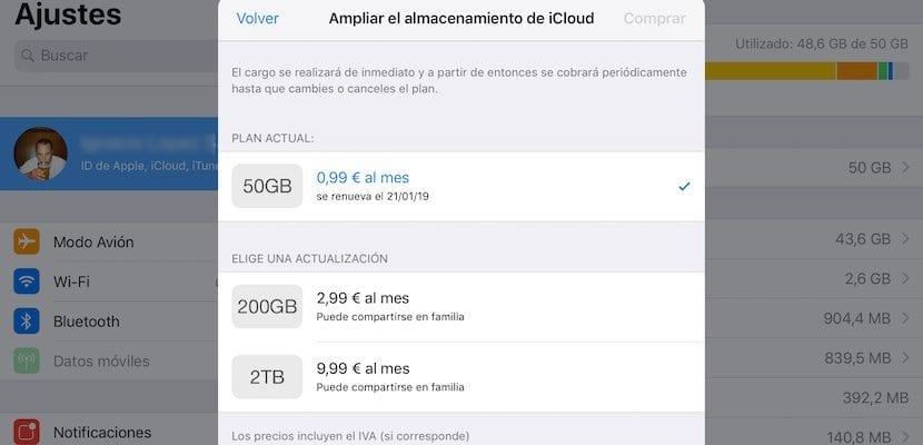 Planes de almacenamiento en iCloud