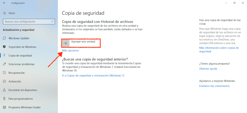 Hacer copias de seguridad en Windows 10