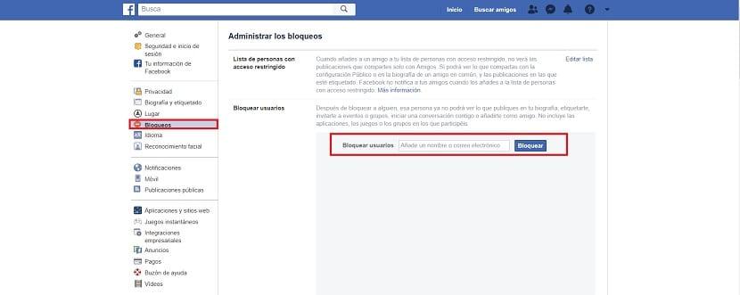 Bloquear usuarios Facebook