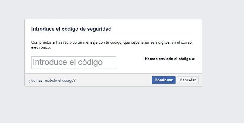 Facebook codigo recuperacion