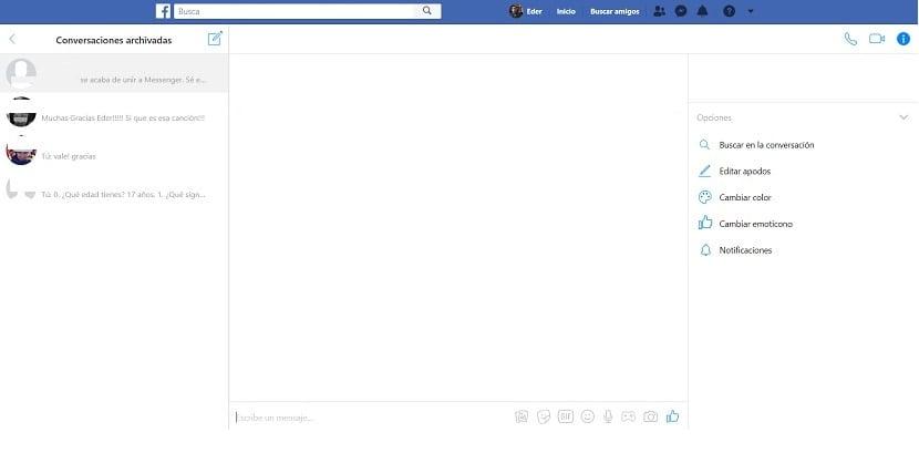 Conversaciones archivadas Facebook