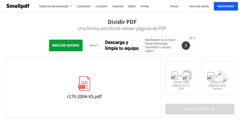 dividir PDF SmallPDF