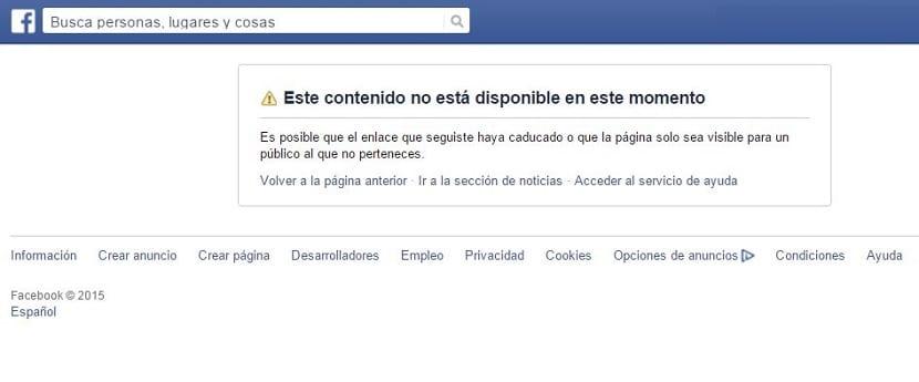 Facebook contenido no disponible