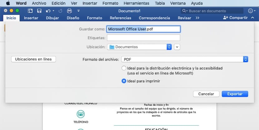 Crear documento PDF en Word, Excell o PowerPoint
