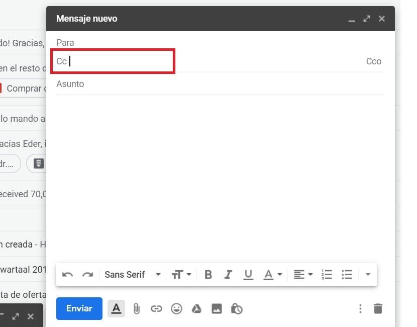 Usar CC en Gmail