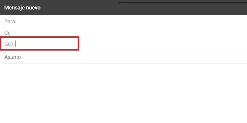 Mandar CCO en Gmail