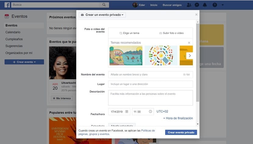 Facebook: Crear evento privado