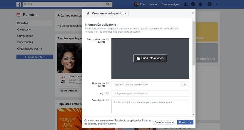 Facebook: Crear un evento público