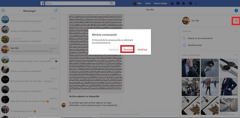 Eliminar chats en Facebook